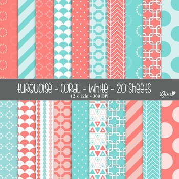 Coral and Turquoise Digital Geometrical Background