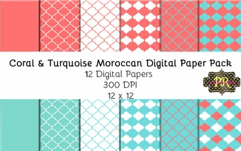 Coral and Turquoise Moroccan Digital Paper