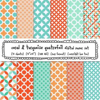 Coral and Turquoise Quatrefoil Digital Paper Set, Orange Blue Trellis Patterns