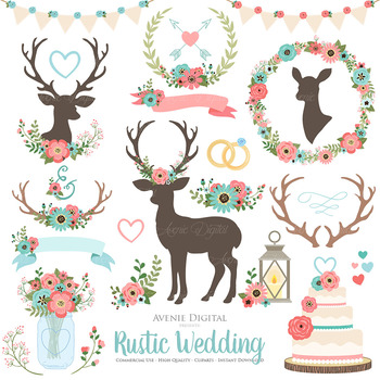 Coral and Turquoise Rustic Wedding Clipart Teal Deer and Flower Wreath Graphics