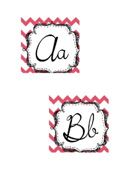Coral and White Chevron Word Wall Document