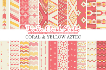 Coral and Yellow Aztec digital paper, Tribal patterns, native,  triangles.