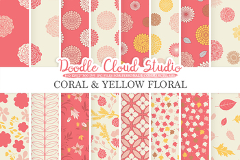 Coral and Yellow Floral digital paper, Pink Floral patterns, Flowers, Dhalia.