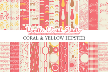 Coral and Yellow Hipster digital paper, Vintage Retro patterns, Father's day