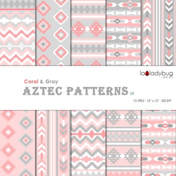 Coral and gray Aztec patterns Wallpapers. Tribal digital papers.