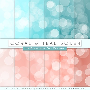 Coral and teal Bokeh  Digital Paper, scrapbook backgrounds