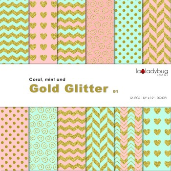Coral, mint and golden Wallpapers. Golden digital papers. Backgrounds.