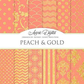 Coral peach and Gold Glitter Digital Paper sparkle pattern scrapbook background