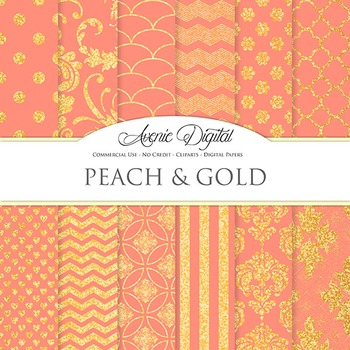 Coral peach and Gold Glitter Digital Paper sparkle pattern scrapbook background