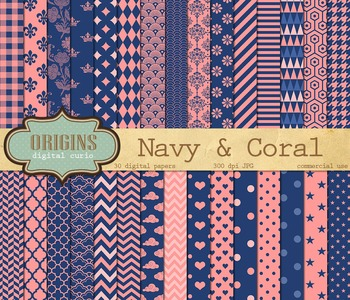 Coral pink and navy blue digital paper patterns backgrounds