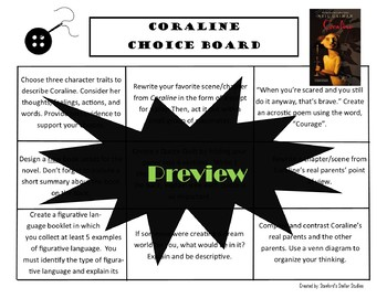 Coraline Choice Board Novel Study Activities Menu Book Project with Rubric