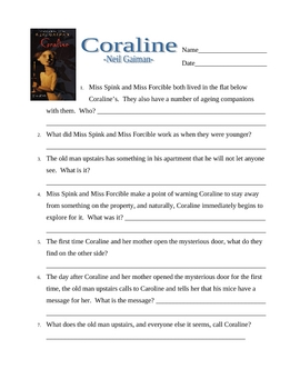 Coraline Comprehension Test & Answer Key
