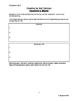 """Coraline"" Novel Study Plan"