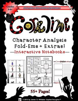 Coraline by Neil Gaiman Character Analysis Mini Fold-Ems & Writing Templates
