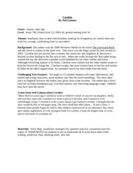 Coraline guided reading plan