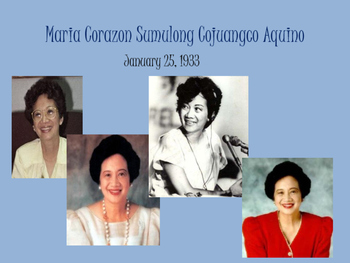 Corazon Aquino- First Female President of Philippines