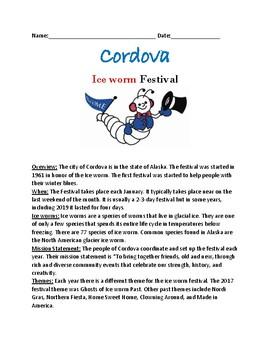 Cordova Ice Worm Festival - Alaska lesson facts history worksheets