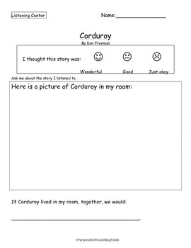Corduroy By Don Freeman - Listening Center Activity - Reading Comprehension