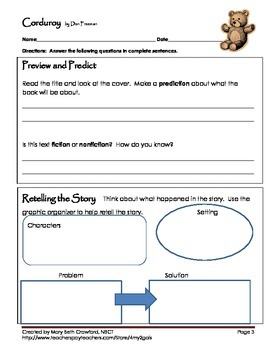 Corduroy {Comprehension and Vocabulary packet}