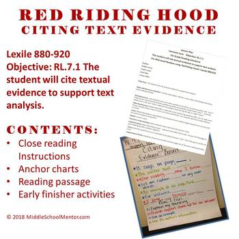 cite text evidence complete lesson high interest red riding hood. Black Bedroom Furniture Sets. Home Design Ideas