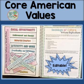 Core American Values Editable Activity