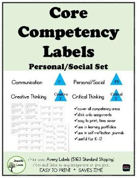 Core Competencies LABELS Personal/Social Set
