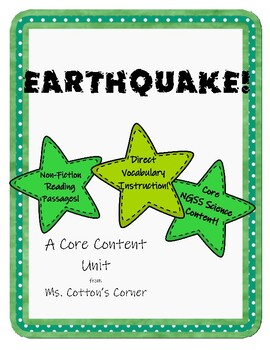 """Core Content unit """"Earthquake!"""" - Vocabulary and Content combined!"""