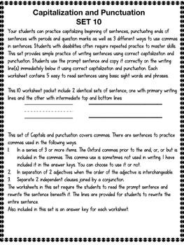 Core Curriculum Capitals, Punctuation and Commas Set 10