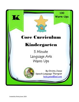 ELA- Kindergarten Common Core-100 ELA Warm Ups
