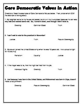Core Democractic Values Worksheet