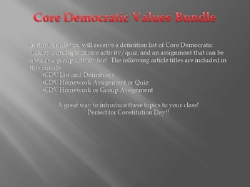 Constitution Day - Citizenship: Core Democratic Values Bundle