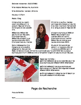 Core French - Canadian Athlete Research Assignment