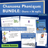 Core French Chansons Phoniques BUNDLE 36 mp3's & Charts -