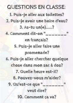 Core French - Common Classroom Questions Poster