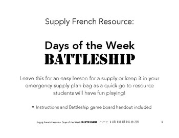 Core French - Days of the Week Battleship Activity - Great Supply Resource