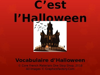 Core French Grade 1-4 Halloween Vocabulary PowerPoint