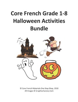 Core French Grade 1-8 Halloween Bundle