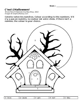 Core French Grade 3&4 Halloween Colour by Numbers