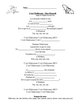 Core French Grade 5-8 C'est l'Halloween Song w/ Fill in Blank (Halloween)
