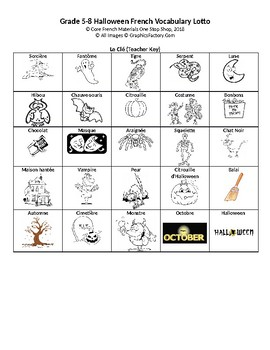 Core French Grade 5-8 Halloween Lotto