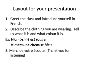 Core French - Les vêtements Presentation Instructions and Rubric