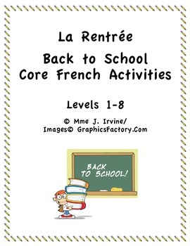 Core French Level 1-8 Back to School Activities Bundle