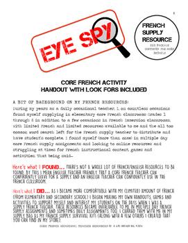 Core French - Noun Activity (Eye Spy) - Great Supply Resource