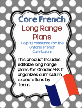Core French Ontario Curriculum Long Range Plans (EDITABLE)