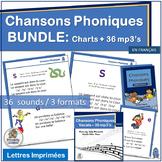Core French Phonics 36 mp3's and Classroom Charts BUNDLE -