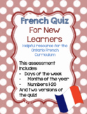 Core French Quiz on Days of the Week, Months of the Year, and Numbers