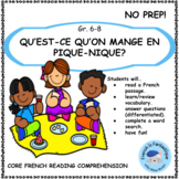 Core French Reading Comprehension Passage and Questions: E