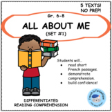 Core French Reading Comprehension Passages and worksheets: