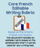 Core French Writing Rubric Based on the Achievement Chart-