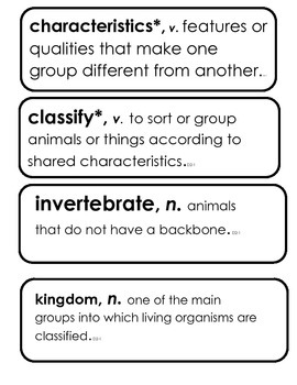 Core Knowledge 3rd Listen & Learn Dom. 2, Classification of Animals Vocab.